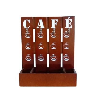 SUPORTE DE MADEIRA PARA CAFÉ